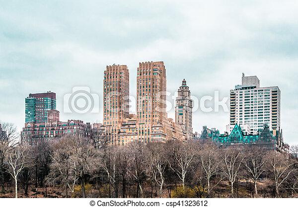 ville, bâtiments, parc central, york, nouveau, manhattan - csp41323612