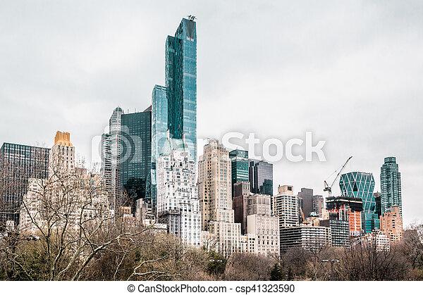 ville, bâtiments, parc central, york, nouveau, manhattan - csp41323590