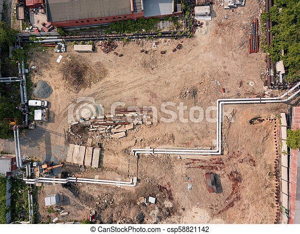 ville, construction, aérien, site, vue - csp58821142
