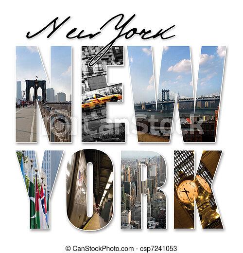 ville, graphique, montage, york, nouveau, nyc - csp7241053