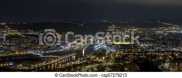 ville, nuit, bilbao - csp57279213