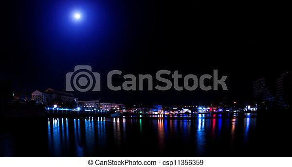 ville, nuit, lumières - csp11356359