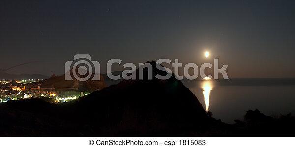 ville, nuit, panorama - csp11815083