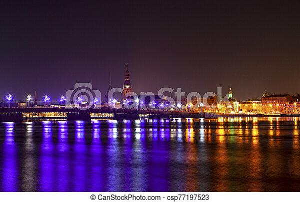 ville, nuit - csp77197523