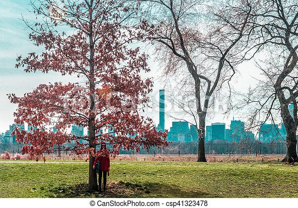 ville, parc central, arbres, york, devant, nouveau, girl, manhattan - csp41323478