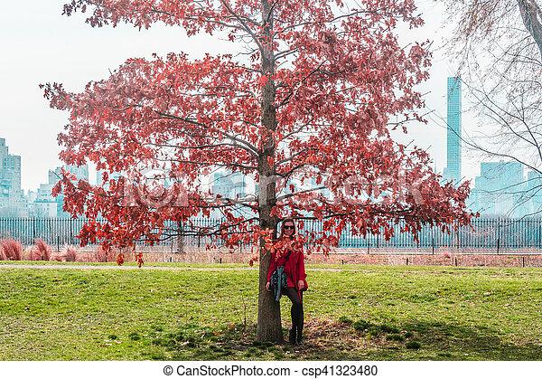 ville, parc central, arbres, york, devant, nouveau, girl, manhattan - csp41323480