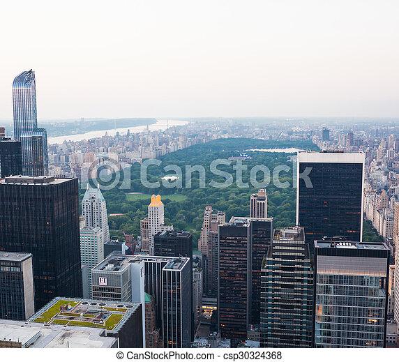 ville, parc central, york, nouveau, vue aérienne - csp30324368