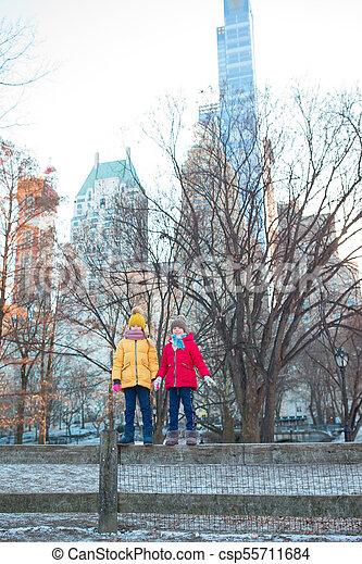 ville, peu, central, filles, parc, york, nouveau, adorable - csp55711684