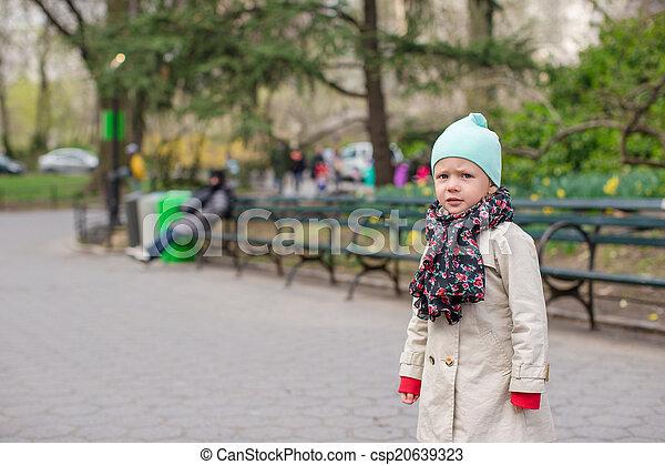ville, peu, parc central, york, nouveau, girl, adorable - csp20639323