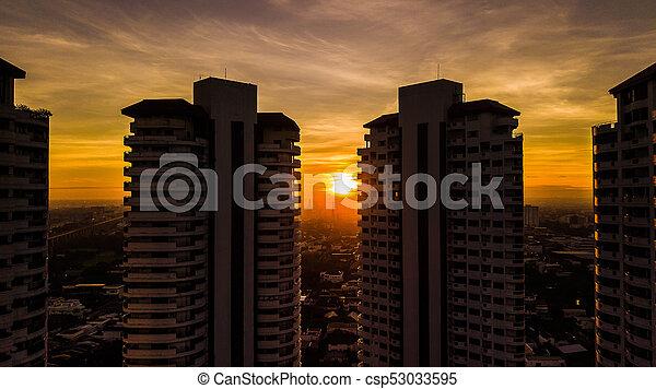 vue, bâtiment, matin, aérien, temps - csp53033595