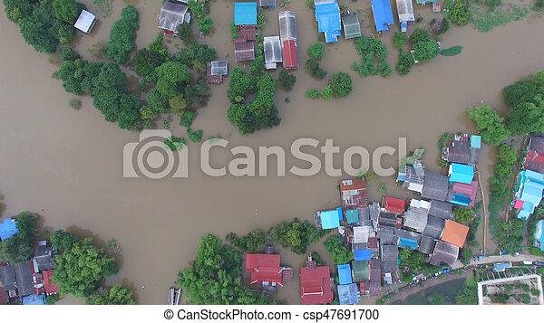vue, inondation, aérien - csp47691700