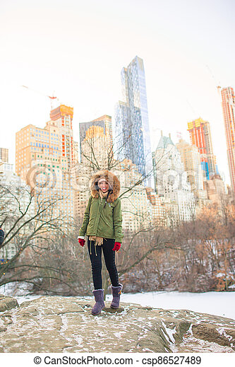 york, parc, central, ville, adorable, nouveau, girl - csp86527489